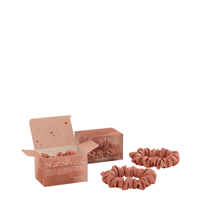Set di due elastici in seta per i capelli Daydream Pink