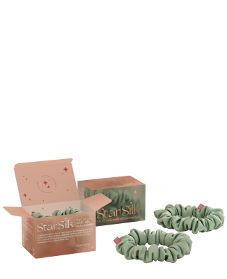 Set di due elastici in seta per i capelli Green Aurora